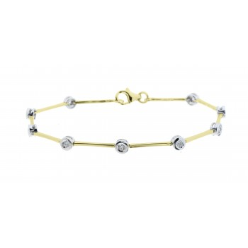 18ct Gold 9-Stone Diamond Rubover Bracelet
