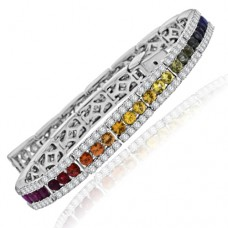 18ct White Gold Three-row Rainbow Sapphire & Diamond Bracelet