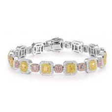 18ct White Gold Pink & Yellow Diamond Bracelet