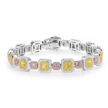 18ct White Gold Pink & Yellow Diamond Bracelet