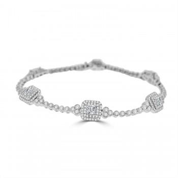18ct White Gold Cushion cut Diamond Double Halo Bracelet