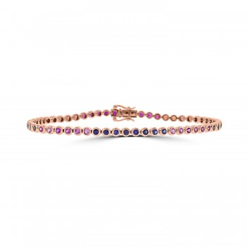 18ct Rose Gold Rainbow Sapphire, Ruby & Diamond Tennis Bracelet
