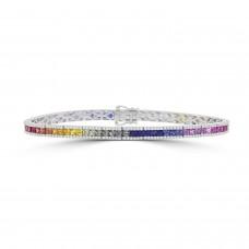 18ct White Gold Three-row Rainbow Sapphire & Diamond Bracelet