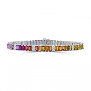 18ct White Gold Rainbow Sapphire & Ruby Baguette Bracelet