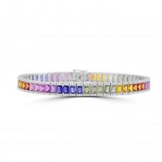 18ct White Gold Rainbow Sapphire Baguette & Diamond Bracelet