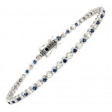 18ct White Gold Sapphire & Diamond Tennis Bracelet