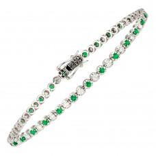 18ct White Gold Emerald & Diamond Tennis Bracelet