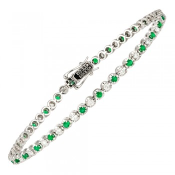18ct White Gold Emerald & Diamond Tennis Bracelet