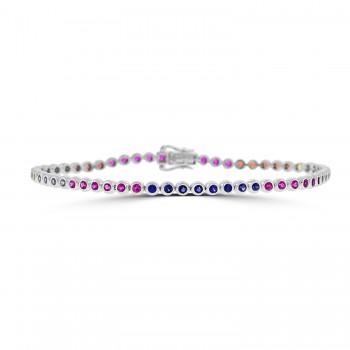 18ct White Gold Rainbow Sapphire & Ruby Rubover Bracelet