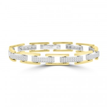 18ct Gold Two-tone Diamond H-link Bracelet