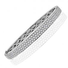18ct White Gold 3-Row Diamond Bangle
