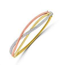 18ct Three Tone Diamond Bangle
