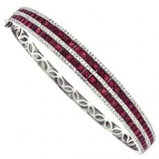 18ct White Gold 5-Row Ruby & Diamond Bangle