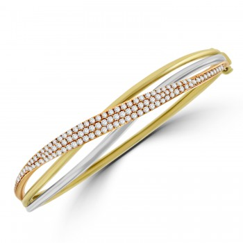 18ct Three-Tone Gold Diamond Crossover Bangle