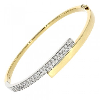 18ct Gold Diamond Crossover Bangle