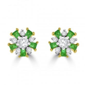 18ct Gold Emerald & Diamond Snowflake Stud Earrings