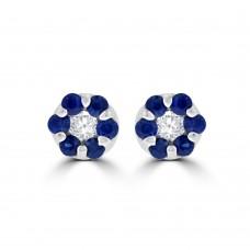 9ct White Gold Sapphire & Diamond Daisy Cluster Stud Earrings