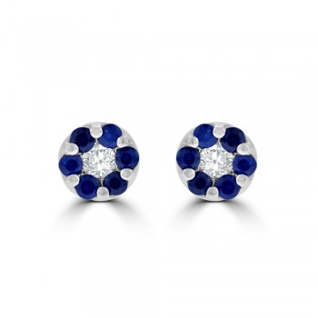 9ct White Gold Sapphire & Diamond Daisy Cluster Stud Earrings