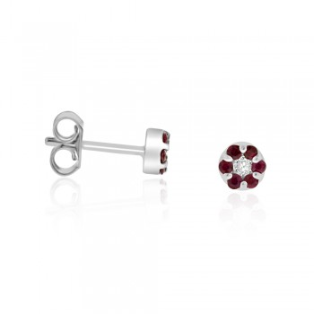 9ct White Gold Ruby & Diamond Daisy Cluster Stud Earrings