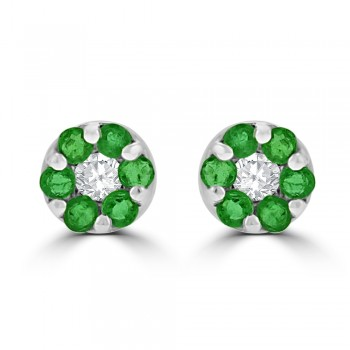 9ct White Gold Emerald & Diamond Daisy Cluster Stud Earrings