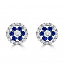 9ct White Gold Sapphire & Diamond Daisy Halo Stud Earrings