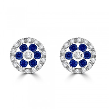 9ct White Gold Sapphire & Diamond Daisy Halo Stud Earrings