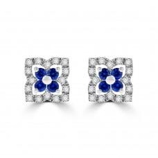 9ct White Gold Sapphire & Diamond Clover Cluster Stud Earrings