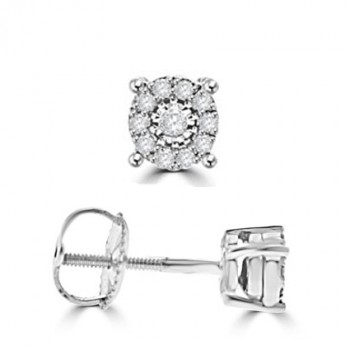 9ct White Gold Diamond Solitaire Illusion Stud Earrings