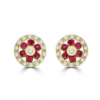 9ct Gold Ruby & Diamond Daisy Halo Stud Earrings