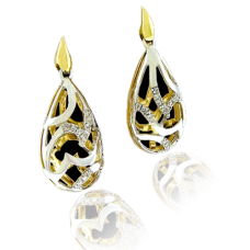 9ct Two-Tone Gold Diamond Drop Earrings