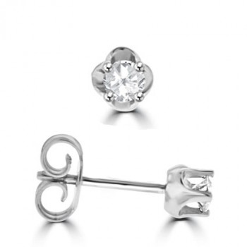 9ct White Gold Solitaire .20ct Diamond Stud Earrings