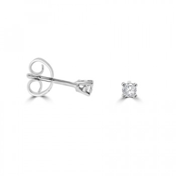 9ct White Gold .10ct Diamond Solitaire Stud Earrings