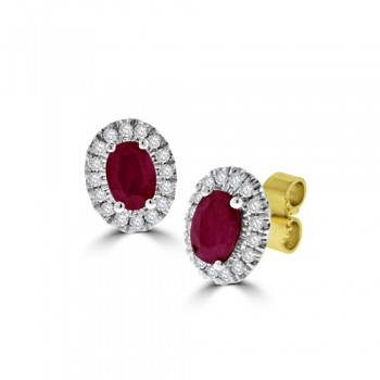 9ct Gold Ruby & Diamond Oval Cluster Stud Earrings