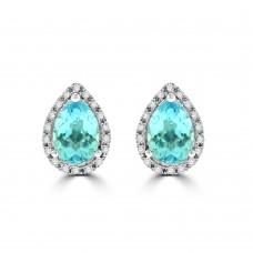 9ct White Gold Blue Topaz & Diamond Pear Halo Stud Earrings