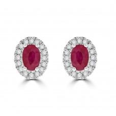 9ct Gold Ruby & Diamond Oval Cluster Stud Earrings