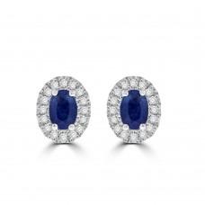 9ct Gold Sapphire & Diamond Oval Cluster Stud Earrings
