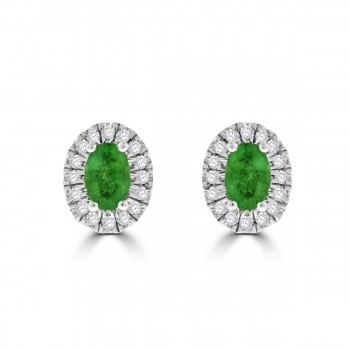 9ct Gold Emerald & Diamond Oval Halo Stud Earrings