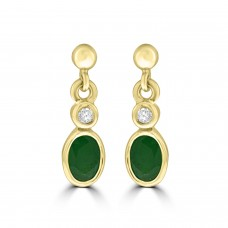 9ct Gold Emerald & Diamond Rubover Drop Earrings