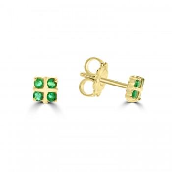 9ct Gold 2x2 Emerald Stud Earrings
