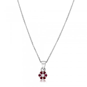 9ct White Gold Ruby & Diamond Daisy Cluster Pendant Chain