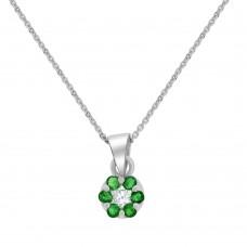 9ct White Gold Emerald & Diamond Daisy Cluster Pendant Chain