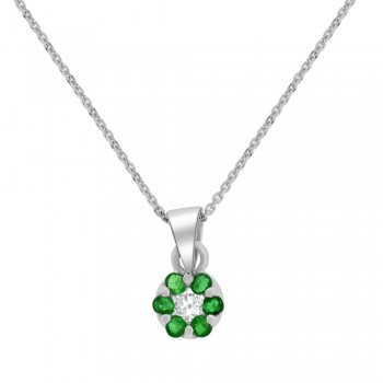 9ct White Gold Emerald & Diamond Daisy Cluster Pendant Chain