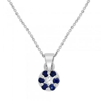 9ct White Gold Sapphire & Diamond Daisy Cluster Pendant Chain