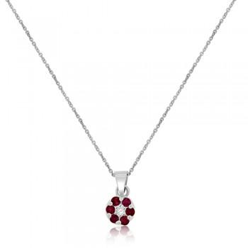 9ct White Gold Ruby & Diamond Daisy Cluster Pendant Chain