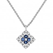 9ct White Gold Sapphire & Diamond Clover Pendant Chain