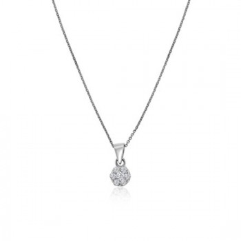 9ct White Gold Daisy Cluster Diamond Pendant 16