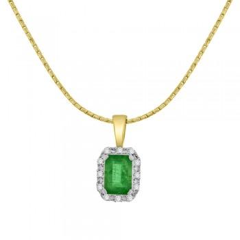 9ct Gold Emerald cut Emerald Diamond Halo Pendant