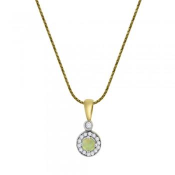 9ct Gold Opal Diamond Halo Pendant