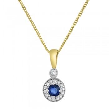 9ct Gold Sapphire & Diamond Halo Pendant