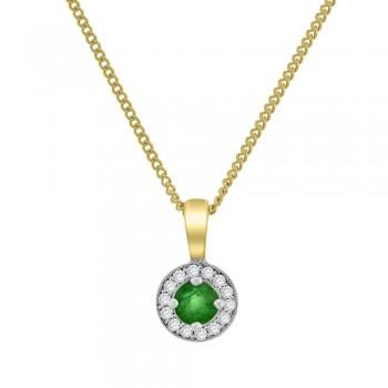 9ct Gold Emerald Diamond Halo Pendant
